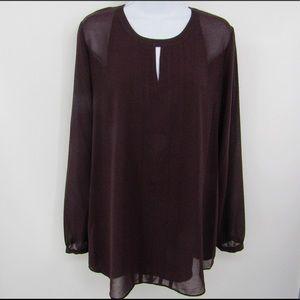 CAbi Entice dark plum blouse